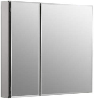 "Kohler 30"" x 26"" Aluminum Two-Door Medicine Cabinet with Mirrored Doors, Beveled Edges"