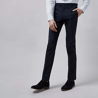 River Island Mens Dark blue skinny fit suit trousers