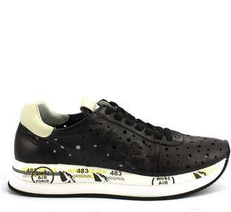 Premiata Conny Perforated Sneaker In Black Leather