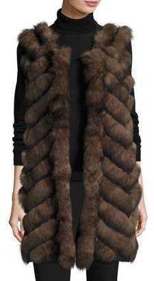Belle Fare Long Chevron-Paneled Reversible Fur Vest