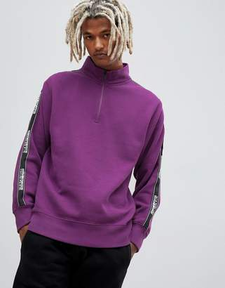 Napapijri Beja 1/4 zip tape logo sweat in purple