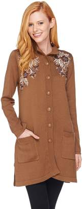 Bob Mackie Bob Mackie's Button Front Floral Embroidered Long Cardigan
