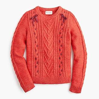 J.Crew The Reeds X cable-knit crewenck sweater