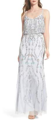 Adrianna Papell Mesh Blouson Gown (Regular & Petite Sizes Available)