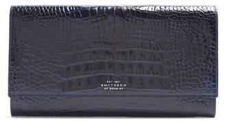 Smythson Mara Marshall Crocodile Effect Leather Wallet - Mens - Navy