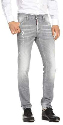 DSQUARED2 Distressed Cool Guy Slim Fit Jeans in Light Gray