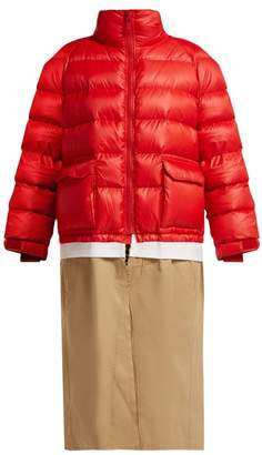 Undercover Panelled Down Filled Coat - Womens - Red Multi