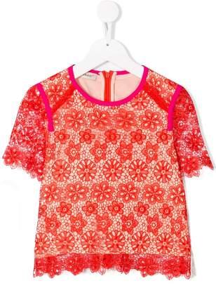 Pinko Kids floral lace T-shirt