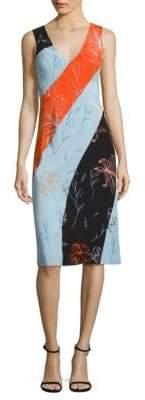 Diane von Furstenberg Colorblock Bias-Cut Silk Dress