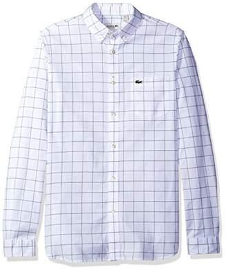 Lacoste Men's Long Sleeve Windowpane Check Oxford Regular Fit Woven Shirt