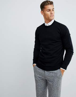 Asos DESIGN cotton sweater in black