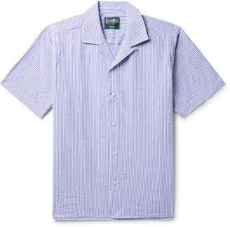 Gitman Brothers Camp-Collar Striped Cotton-Seersucker Shirt