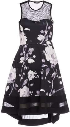 Quiz Black And White Floral Dip Hem Dress