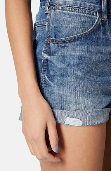 Topshop Moto 'Rosa' High Rise Denim Shorts (Mid Stone)