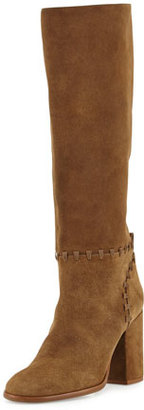 Tory Burch Contraire Suede 90mm Knee Boot, River Rock $525 thestylecure.com