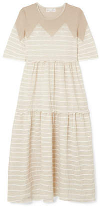 Sonia Rykiel Tiered Striped Metallic Stretch-knit Midi Dress - Cream