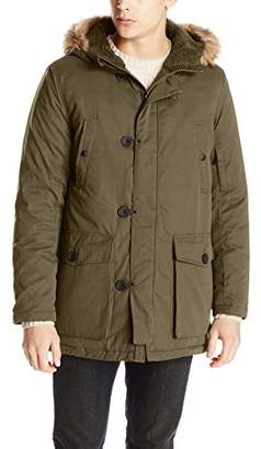 Kenneth Cole New York Men's Anorak Jacket with Faux Fur-Trimmed Hood