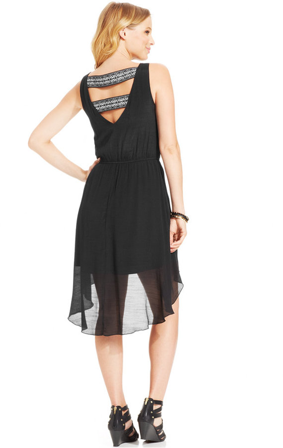 Trixxi Juniors' Embroidered-Band High-Low Dress