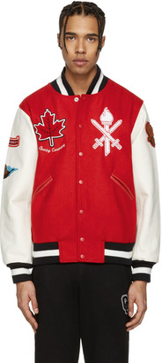 Opening Ceremony Red Canada Global Varsity Jacket $525 thestylecure.com