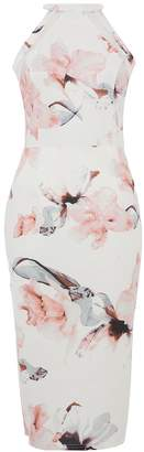 Quiz Cream And Pink Floral Mesh Midi Dress