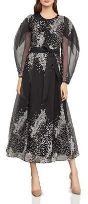BCBGMAXAZRIA Embroidered Organza Midi Dress
