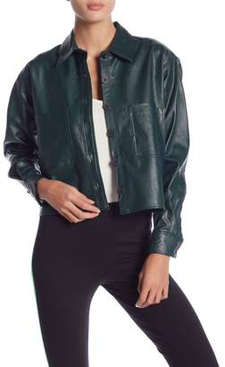 Romeo & Juliet Couture Button Down Faux Leather Jacket