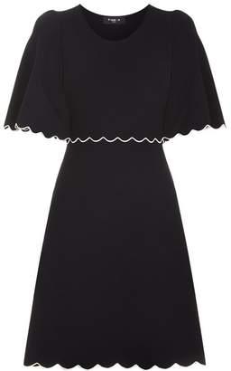Paule Ka Cape Style Scalloped Mini Dress