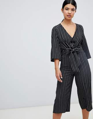 Miss Selfridge Tie Front Stripe Culotte Jumpsuit