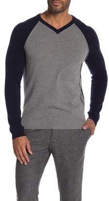 Autumn Cashmere V-Neck Raglan Piped Cashmere Sweater