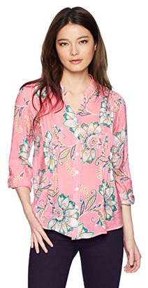 Ruby Rd. Women's Petite Printed Light Weight Gauze Button-Front Top