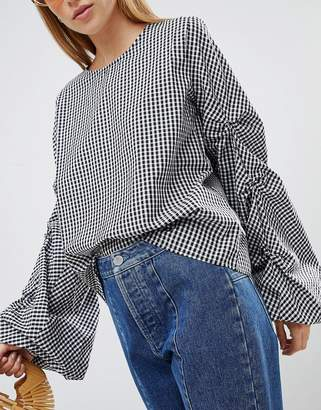Asos Cotton Top With Sleeve Drama Gingham