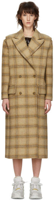 Beige Check Wool Decortique Coat