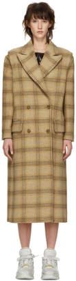 MM6 MAISON MARGIELA Beige Check Wool Decortique Coat