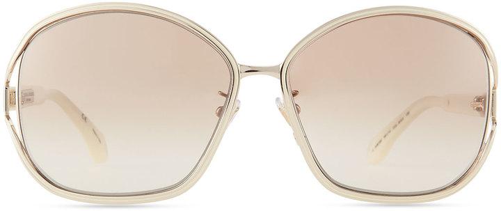 Carolina Herrera Shiny Metal-Frame Sunglasses