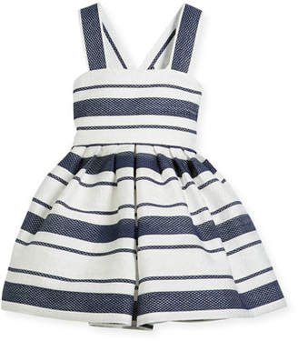 Helena Sophisticated Stripe Cross-Back Dress, Size 12-18 Months