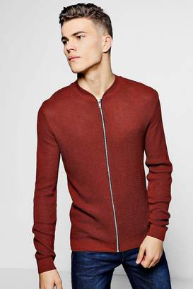 boohoo Textured Knitted Crew Neck Bomber