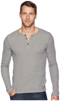 BOSS ORANGE Trix Long Sleeve Waffle Henley Men's Long Sleeve Pullover