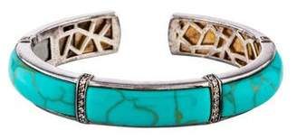 Kara Ross Turquoise & Colorless Sapphire Section Kick Cuff