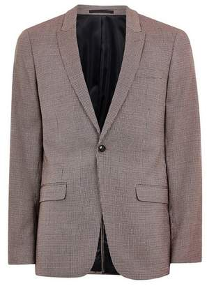 Topman Mens Pink Check Skinny Suit Jacket