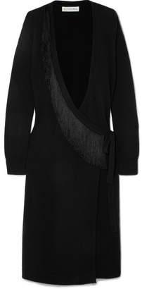 Altuzarra Elian Belted Fringed Knitted Cardigan - Black