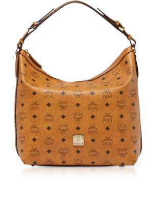 MCM Essential Visetos Original Cognac Medium Hobo Bag