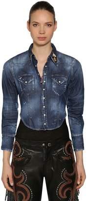 DSQUARED2 Stretch Denim Cropped Shirt
