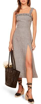 Reformation Lavender Front Slit Linen Midi Dress