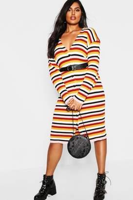 boohoo Plus Stripe Knitted Midi Dress