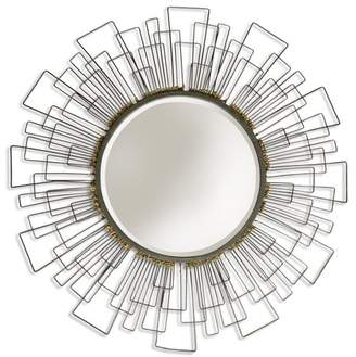 Generic Wired Metal Frame Round Beveled Mirror - Gold Accents