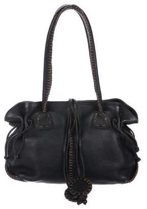 Carlos Falchi Whipstitch Leather Shoulder Bag
