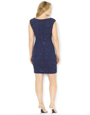 Lauren Ralph Lauren Plus Sequined-Lace Cowlneck Dress