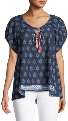 Nordic Pure Feather-Print Voile Short-Sleeve Blouse