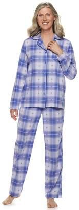 Croft & Barrow Women's Flannel Shirt & Pants Pajama Set