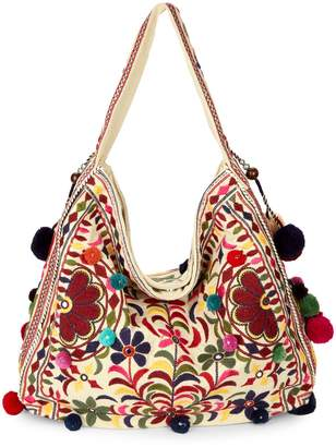 Yumi Star Celeste Embroidered Cotton Hobo Bag